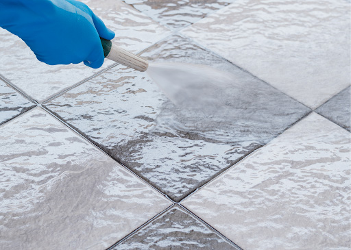 Clean grout with water